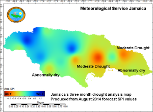 A map that our friends at the Jamaica Meteorological Service just tweeted - drought forecast for Jamaica for August.