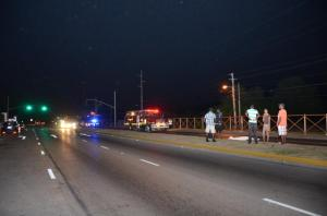 A British woman was killed by a speeding car on the Rose Hall main road in Montego Bay last night. Was this a hit and run? Details are scarce. (Photo: Janet Silvera/Gleaner)