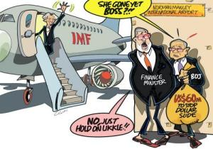 A Jamaica Observer cartoon shows the Finance Minister and central bank governor waiting for IMF chief Christine Lagarde to leave before putting in support mechanisms for the Jamaican Dollar.