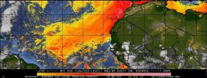 A satellite map of the Saharan dust, which seems to be much thicker on the European side. Still, we suffer...