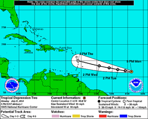 Tropical Depression Two is approaching the Caribbean. (Graphic by NOAA)
