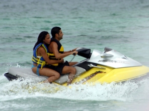 Jet skiers in Jamaica.