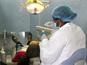A dental student at work at the College of Oral Health Sciences. (My photo)