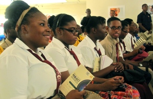 The students thoroughly enjoyed the ceremony, which was attended by Minister of Youth and Culture Lisa Hanna. (My photo)