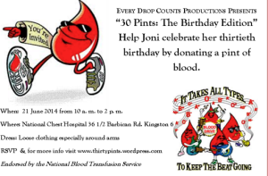 Joni Jackson's birthday invitation…to donate blood.
