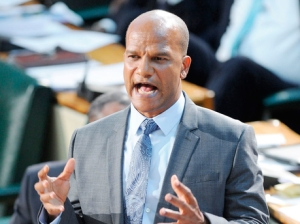 National Security Minister Peter Bunting addressing Parliament yesterday. (Ricardo Makyn/Gleaner)