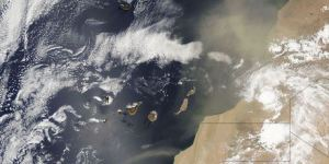 A view from space of an African dust storm crossing the Atlantic and heading for the Caribbean.