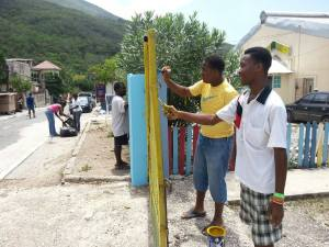 Members of the Rotary Club of Trafalgar, New Heights on a work day at Shalom Basic School in August Town, St. Andrew, last weekend. (Photo: Facebook page)
