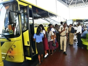Passengers board a JUTC bus. (Photo: Rudolph Brown/Gleaner)