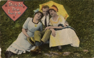 "The ""Menage A Trois"": a 1910 postcard."