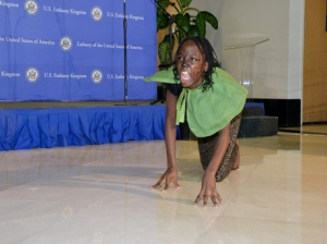 The best performer in the 10 to 14-year-old group, Jahzan McLaughlin, prowls across the stage at the US Embassy on Thursday. (Photo: U.S. Embassy)