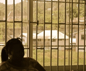 St. Ann's Bay, through the window of the Marcus Garvey Youth Information Centre. (My photo)
