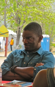 Jamaican novelist Roland Watson-Grant at a book session during the Independence Holiday. (My photo)