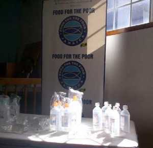 Food for the Poor donated 16,000 packages of IV fluids to the Health Ministry. (Photo: Loop Jamaica)