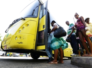 Passengers embarking a Jamaica Urban Transit Company bus at North Parade, downtown Kingston. (Photo: Gleaner)