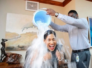 Youth and Culture Minister Lisa Hanna recently undergoing the ice bucket treatment in her office. All shared on social media, of course.