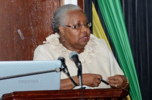 Executive Director, Jamaica Tertiary Education Commission, Maxine Henry-Wilson addressing a public forum on 'Financing Tertiary Education' held on February 25, 2014. (Photo: JIS)