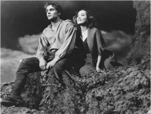 "The 1939 version of ""Wuthering Heights"" with Heathcliff (Laurence Olivier) and Cathy (Merle Oberon) perched on the cold moors. They've got all that passion to keep them warm."