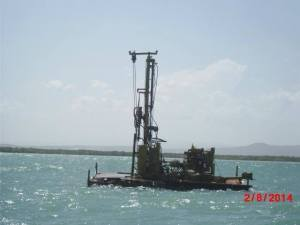 CHEC equipment near Little Goat Island. They are doing test boreholes. (Photo: Caribbean Coastal Area Management Foundation)
