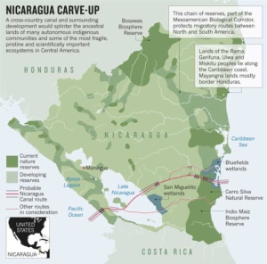 The proposed Nicaragua Canal route. (Nature, International Weekly Journal of Science)