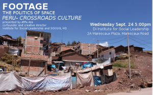 """Crossroads Culture"": DJ Afifa Aza will present on her extraordinary visit to Peru next Wednesday evening. Go down there and find out more (it's free)."