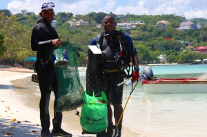 Scuba divers such as those from the Discovery Bay Marine Lab in 2012 participate in ICC Day by assisting with underwater cleanups.