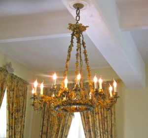One of the delicious chandeliers, from the original King's House in Spanish Town, in the Drawing Room.