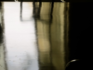 Cool reflections on a polished table in the Morning Room.