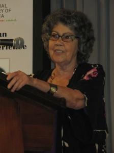 Jamaican writer Olive Senior speaking at the Institute of Jamaica on Sunday. (My photo)