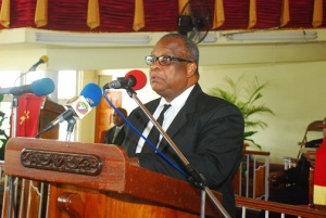 Member of Parliament for Central St. James and Deputy Speaker of the House of Representatives Lloyd B. Smith speaking at Mario Deane's funeral in Montego Bay last year. (Photo: Jamaica Observer)