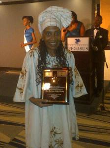 Barbara Blake Hannah receives her Caribbean Hall of Fame Award on October 25 at the Jamaica Pegasus Hotel. (Photo: Facebook)