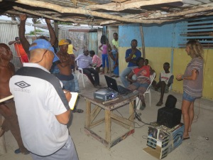 Consultation with fishermen on Middle Cay, Pedro Bank, July 2014.