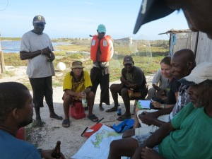 Consultation with fishermen on Top Cay, Pedro Bank, July 2014.