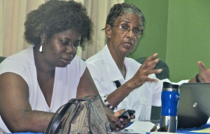 Gender and development specialist par excellence, Judith Wedderburn (right), makes a point at a 51% Coalition meeting. Nadeen Spence is at left. (My photo)
