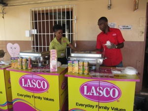 Congratulations to local manufacturer LASCO for its support for Stephen Newland's project. Here they are setting up their food counter at the school.
