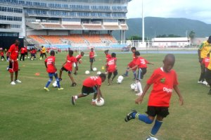 The DIGICEL/JFF Grassroots programme continued with the staging of a festival at Sabina Park on Saturday, September 27th. (Photo: Jamaica Football Federation)