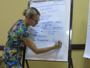 Project Manager Kim Baldwin takes notes during stakeholder workshop in Kingston, September 29, 2014.