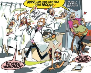 I couldn't resist this Jamaica Observer cartoon, focusing on the panic at Mandeville Hospital recently...