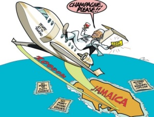 The Imam returns to Trinidad on his private jet… The Jamaica Observer editorial carton this week.