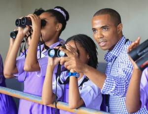 President of BirdsCaribbean Leo Douglas did some bird-watching with students of Bishop Gibson High School in Manchester recently.