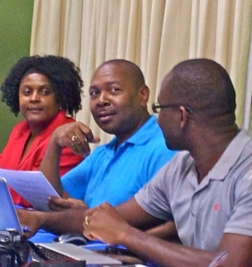 Journalists from Jamaica, Antigua and St. Vincent bonding at the media training workshop on preparing for the upcoming Conference of Parties to the UN Convention on Climate Change, sponsored by the Friedrich Ebert Stiftung and Panos Caribbean in Kingston this week. (My photo)