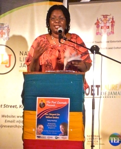 Jamaican poet Millicent Graham reads at Bookophilia. (My photo)