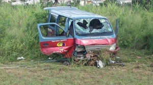 Six people are seriously injured after this RJR van skidded on the Spanish Town leg of Highway 2000 around 6:00 am Sunday morning. (Photo: RJR)