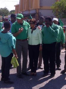 """Opposition Leader Andrew Holness with Jamaica Labour Party candidate and financial consultant Faye Reid-Jacobs on Nomination Day in the Central Westmoreland constituency, which has been """"PNP territory"""" for quite a few years. (Photo: Irie FM News)"""