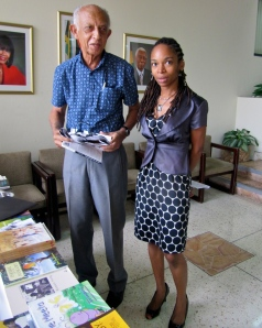 Noted poet Professor Edward Baugh with Ann-Margaret Lim on International Literacy Day at the Ministry of Foreign Affairs earlier this year. (My photo)