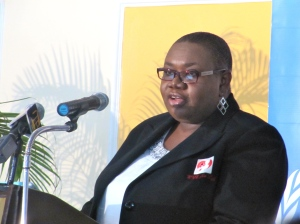 Eve for Life Executive Director speaks at the High-Level Breakfast for International Day Against the Elimination of Violence Against Women, hosted by the UN Country Team in Jamaica on November 25, 2014. (My photo)