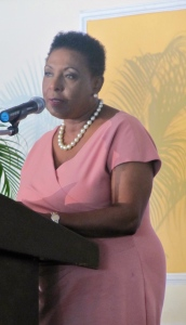 "Gender Affairs Minister Olivia ""Babsy"" Grange, we MUST look at the root causes of the issue of violence against women and girls and address them with ACTION. (My photo)"
