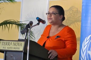 "Senator Sandrea Falconer, representing Prime Minister Portia Simpson Miller, called for Jamaicans to ""break the culture of violence - and silence."""