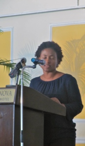 UNICEF Jamaica's Novia Condell urges all those present to contribute to the Ashley Fund in support of young women survivors of sexual and physical abuse.
