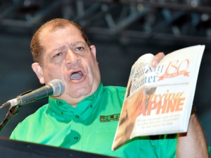 Opposition Spokesman on Finance Audley Shaw in full flight at Sunday's Jamaica Labour Party Annual Conference. (Photo: Gleaner)